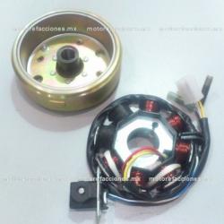 Magneto Completo con Estator (Corona) para Motoneta Italika VS90 / PS90