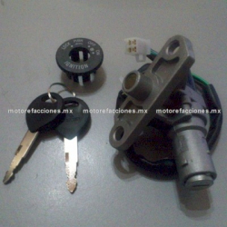 Switch Encendido Completo - Motonetas 50 a 125cc - Vento ZIP - (Conector 4 puntas) - Base Diagonal - Perno Corto