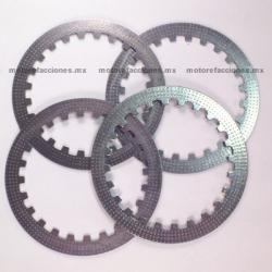 Discos (platos) de Clutch Motocicletas (4 pzas) - Cargo / Titan / Italika FT125 / FT150