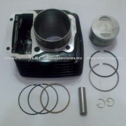 Kit de Cilindro Motocicleta - Italika FT150 GT / DM150 (negro) - (Piston Corto perno 13mm)