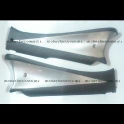 Cubiertas de Piso Italika DS125 / DS150 / XS150 - Phantom R4, R5 - VX150 – Siluete (Negro Mate c/ Plata)