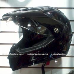 Casco Integral tipo Cross - Mica y Gafas - CRS (negro brillante) talla G/XG