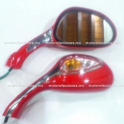 Espejos p/ Motoneta con Luz (rojo) c/ Tornillería