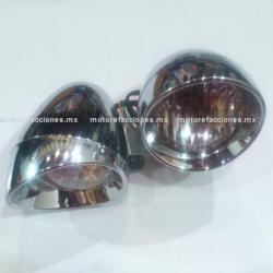 Faros Adicionales Universales Cromados - Motocicletas tipo Custom (Choper) mica transparente - ECONOMICOS