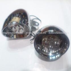 Faros Adicionales Universales Cromados - Motocicletas tipo Custom (Choper) Ultra-LED - Largo Alcance y Bajo Consumo