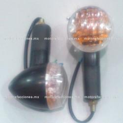 Direccionales Universales Grandes Negras para Motos tipo Custom (choper) con Mica Transparente / Ambar - (bala)