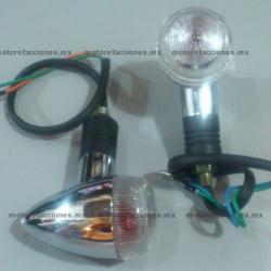 Direccionales Universales Medianas para Motos tipo Custom (choper) Ambar con Mica Transparente- (tipo bala)