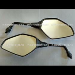 Espejos Negros Rombo Mediano - Italika DM150 (10mm)