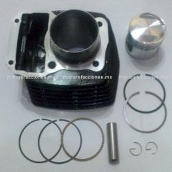 Kit de Cilindro Motocicleta - Italika FT150 - Custom Chinas 150cc (negro) - (Pistón Largo perno 15mm)