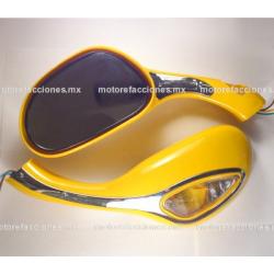Espejos p/ Motoneta con Luz (amarillo)