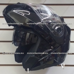 Casco Integral Abatible c/ Gafas CERTIFICADO - (negro brillante) talla XL