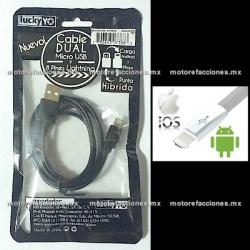 Cable Hibrido Android / IOS Micro USB para Celular (blanco)