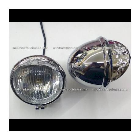 Faros Adicionales Universales Cromados tipo GN - Custom (Choper) mica Transparente - ECONOMICOS