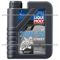 Aceite Liqui Moly Street 4T Multigrado SAE 20W50 Tipo JASO MA2 (946 ml)
