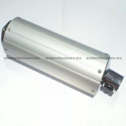 Escape Corto STD (Cilindro) para Motonetas - Italika WS150 / DS125 / DS150 - Plata con Cromo