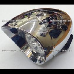 Faro Universal Cromado - Motocicletas tipo Custom (Choper) Hyper-LED 5 Unidades - Largo Alcance y Bajo Consumo