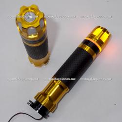 Puños Deportivos de Aluminio c/ Contrapesos LED (amarillo / dorado)