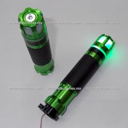 Puños Deportivos de Aluminio c/ Contrapesos LED (verde)