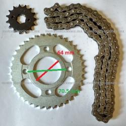 Kit de Sproket, Piñon y Cadena Reforzada - (38/15T + 428H) - Italika FT125 Sport