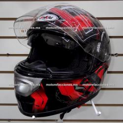 Casco Cerrado CERTIFICADO (Negro c/ Graficos Rojo) talla XL - Doble Visor