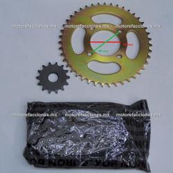 Kit de Sproket, Piñon y Cadena Reforzada - (43/14T + 428H) - Suzuki EN125 / GN125