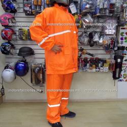 Impermeable Reforzado (3 Piezas) Naranja forro tela para Motociclista