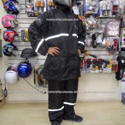 Impermeable Reforzado (3 Piezas) Negro forro tela para Motociclista