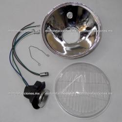 Repuesto con Cristal, Arnes y Reflector de Faro para Motocicleta tipo Custom (Choper) - (Version Orejas)