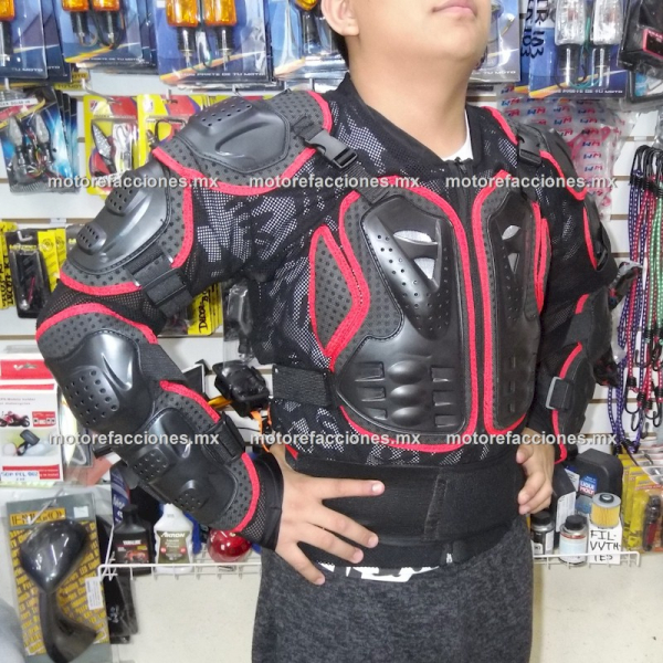 Esqueleto para Motociclista - Espaldera Desmontable (negro c/ rojo)