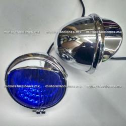Faros Adicionales Universales Cromados tipo GN - Custom (Choper) Ultra-LED - Largo Alcance y Bajo Consumo