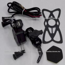 Soporte Celular Araña para Moto con Cargador USB