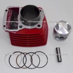 Kit de Cilindro Motocicleta - Italika FT125 / DT125 / DT125 Sport / FT125 Sport / FT125 Clasica / XFT125 (rojo)