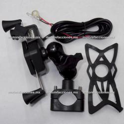 Soporte Celular Araña para Moto con Cargador USB - (para manubrio de moto)