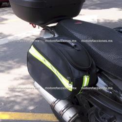 Par de Alforjas / Mochilas de Lona Ovaladas Desmontables (Grandes) p/ Motonetas y Motocicletas