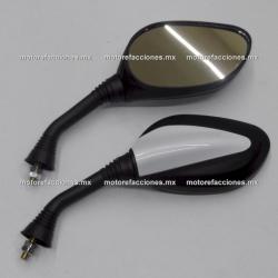 Espejos Negros c/ Blanco Motonetas - Italika CS125 / XS125 / DS150 / GS150 / GTS175 (8mm) - ORIGINALES GRUESOS